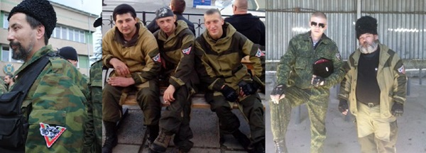 The insignia seen on men in pictures uploaded to Vkontakte. The man on the far right appears to be the bearded man identified by Ukrainian Intelligence as a Russian solider