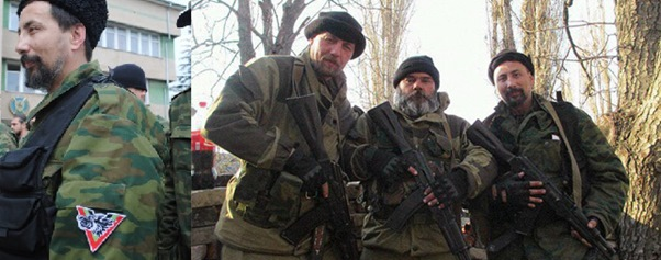 Igor Georgievsky outside Crimean Naval base and in a separate picture posing with Ponomarev and the unidentified bearded gunman.
