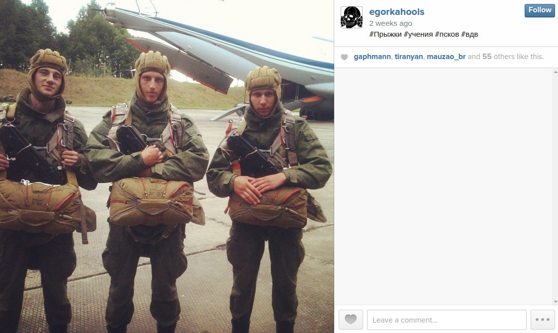 The 76th Pskov VDV regiment gearing up for a training jump. Egor Lesnikov is on the right