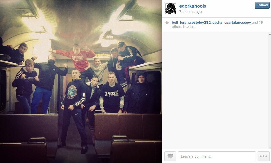 Lesnikov is affiliated with a nationalist Spartak Moscow firm – he has posted videos of large fights with fans of other teams