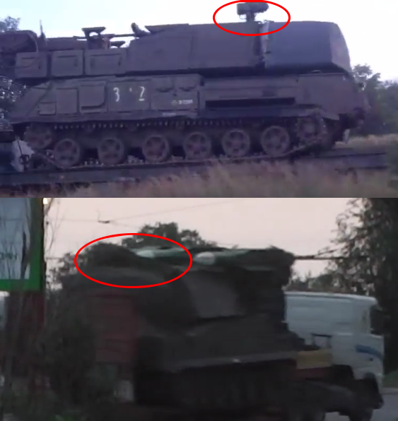Top: Buk without railings filmed in outside Staryy Oskol. [Source] Bottom: Same Buk in Luhansk after the attack. [Source]