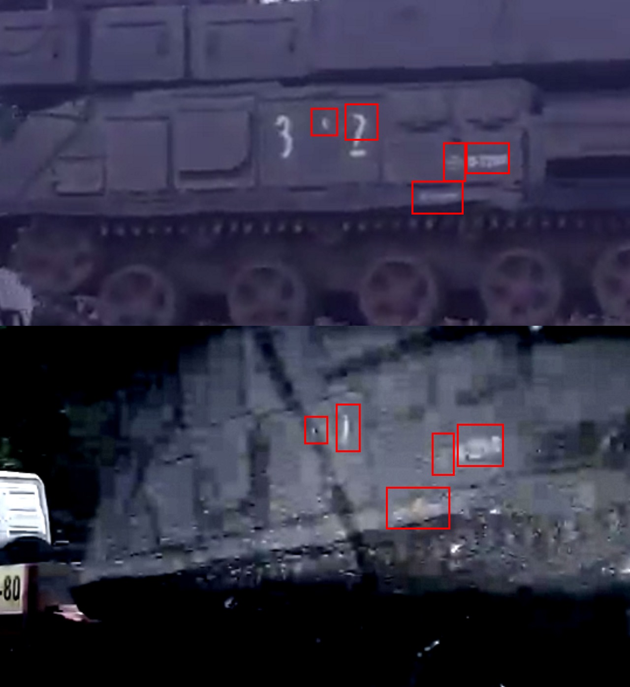 The top still is from footage of the convoy in Russia, the bottom from the Paris Match photograph [Source] with the matching markings highlighted