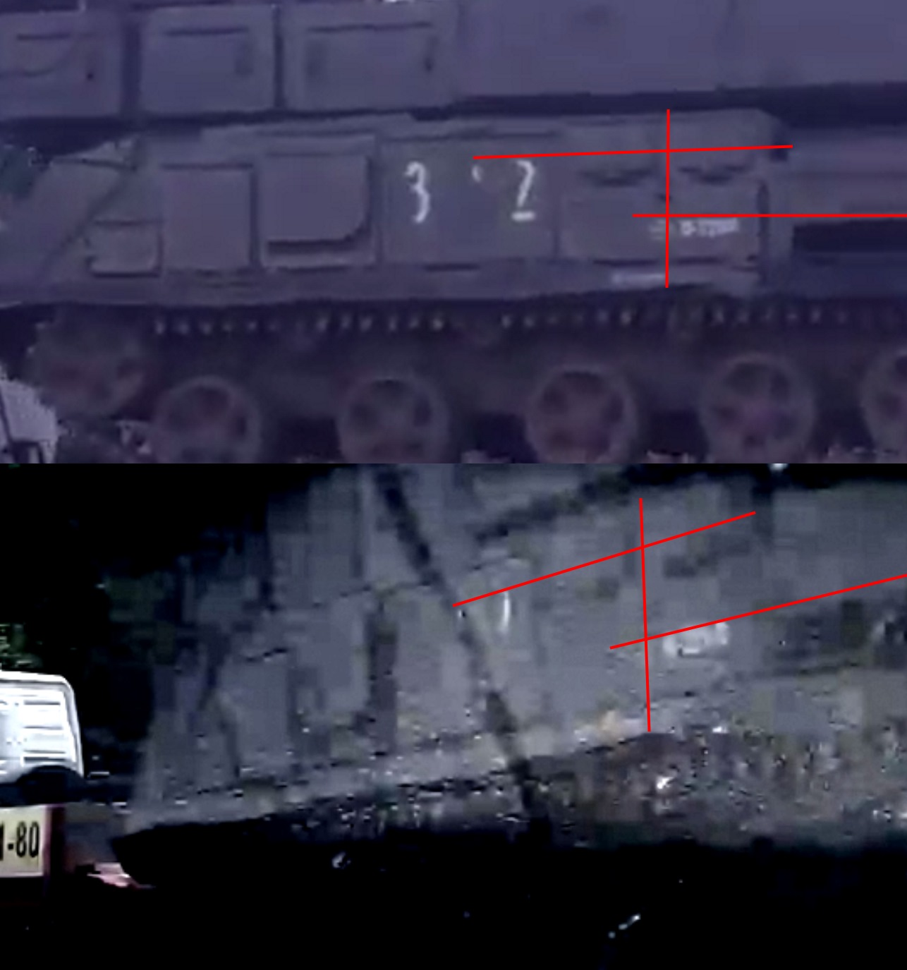 The same images as above showing where the Buk's markings line up. Note the bottom image has had its contrast adjusted for clarity.
