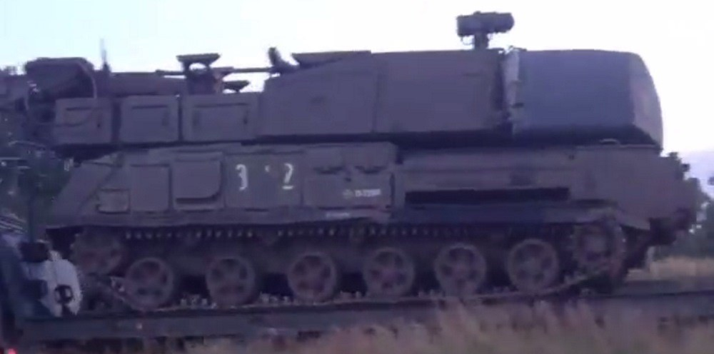 A screenshot from footage of Buk 3x2 in Stary Oskol, Russia on June 23, 2014.