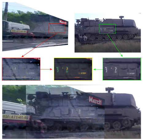 Overlaid comparison between Buk in Paris Match photo in Ukraine and Buk 3x2 in Russia.