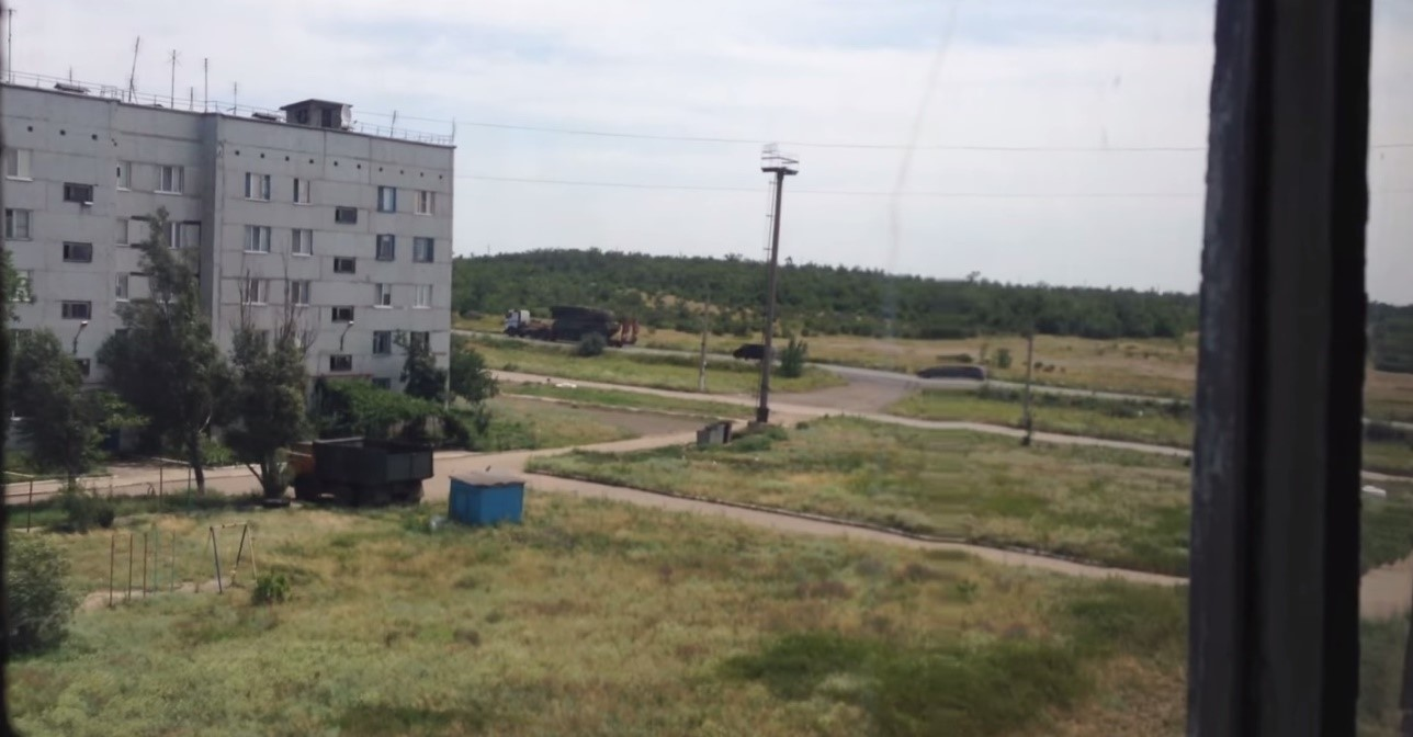 Screenshot from footage filmed in Zuhres, Ukraine, July 17, 2014.