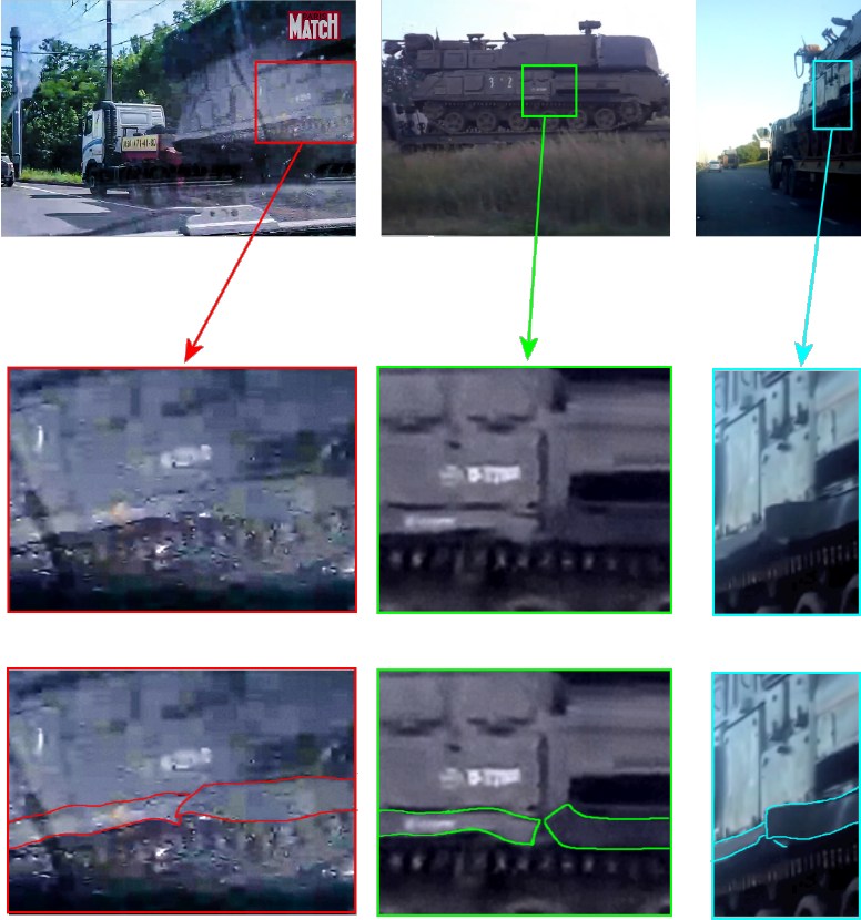 Left, the Paris Match photograph from Donetsk showing side skirt damage on Buk Middle, screenshot from footage in Stary Oskol showing side skirt damage on Buk 3x2 Right, screenshot from footage in Stary Oskol showing side skirt damage on Buk 3x2.