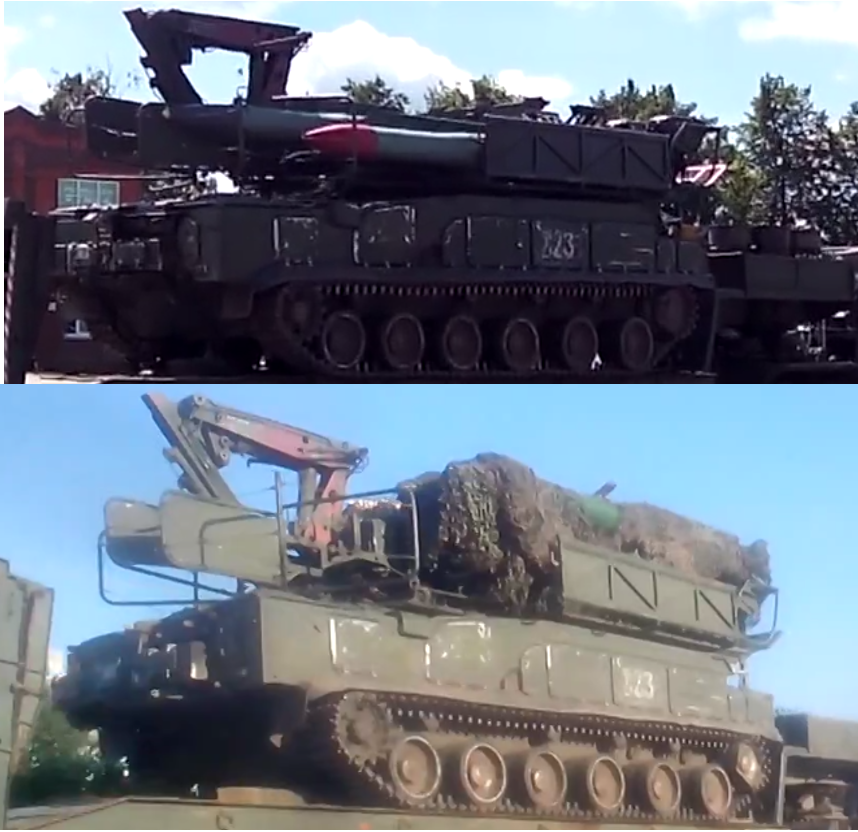 Top, the Buk missile loader in June. Bottom, the same vehicle on July 20th in Kamensk-Shakhtinsky.