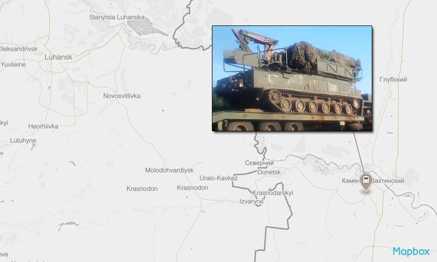 Top, a map showing the route of the July convoy from Stary Oskol to Olkhovatka. Each point designates a confirmed sighting of the convoy through videos uploaded on social media. Bottom, a Buk missile launcher in Kamensk-Shakhtinsky, south of Olkhovatka.