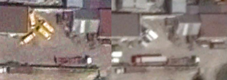 Left, Google Earth satellite map imagery of the low-loader at vehicle rental site on July 24, 2014 Right, Google Earth satellite map imagery of the low-loader at same location on August 9, 2014