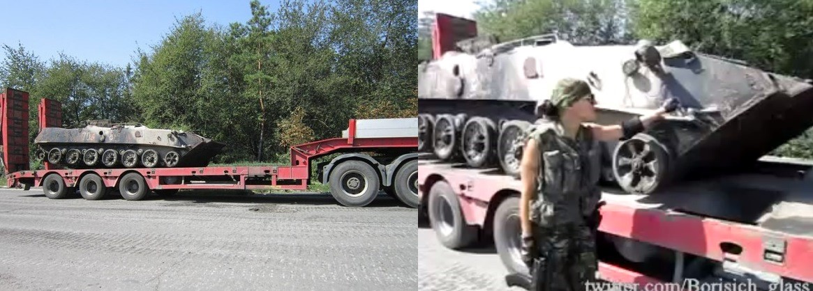 Left, photograph of the low-loader truck from August 26, 2014. Right, screenshot from footage of the same low-loader truck filmed by separatists on August 26.