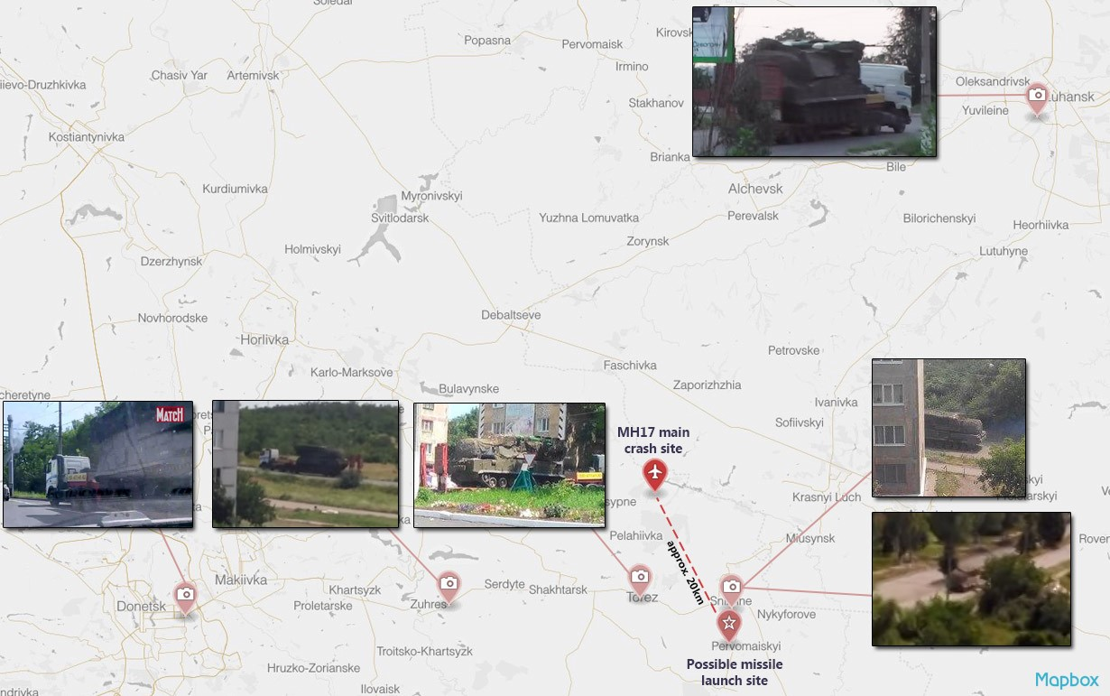Map of the six sightings of a Buk missile launcher on July 17 and 18 in separatist-controlled territories of eastern Ukraine.