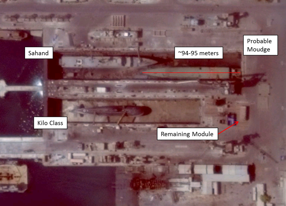 Satellite imagery from September 2014 shows new construction activity at a dry dock at Iran's Bander Abbas naval base.
