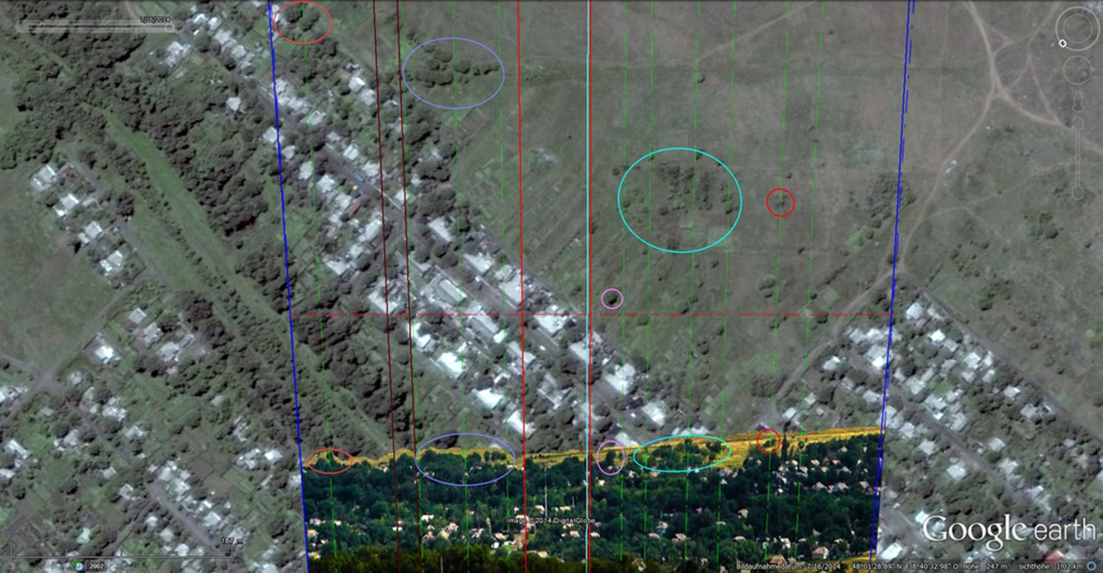 Third image with matches between the 17 July 2014 picture and the Google Earth satellite image.