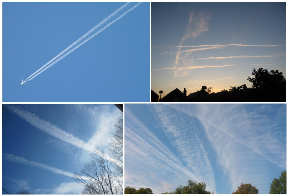 Contrails or vapor trails of airplanes, arranged from fresh to dispersed.