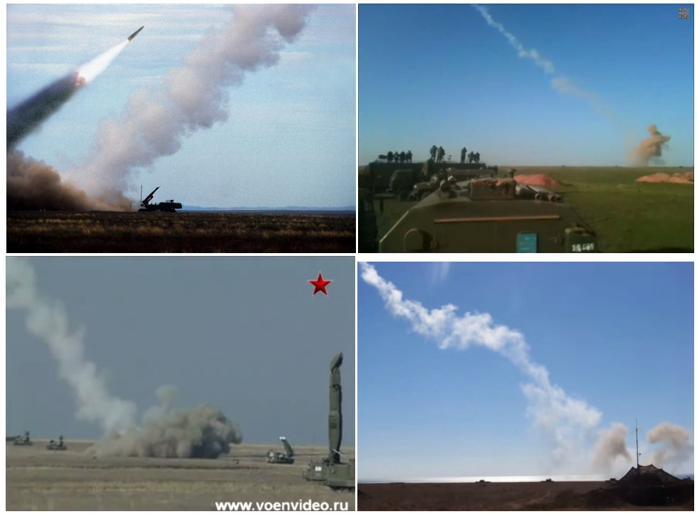 White smoke trails (and grey clouds near the ground) after a Buk M1 missile launch; images and screenshots from videos found on a Russian website and YouTube.