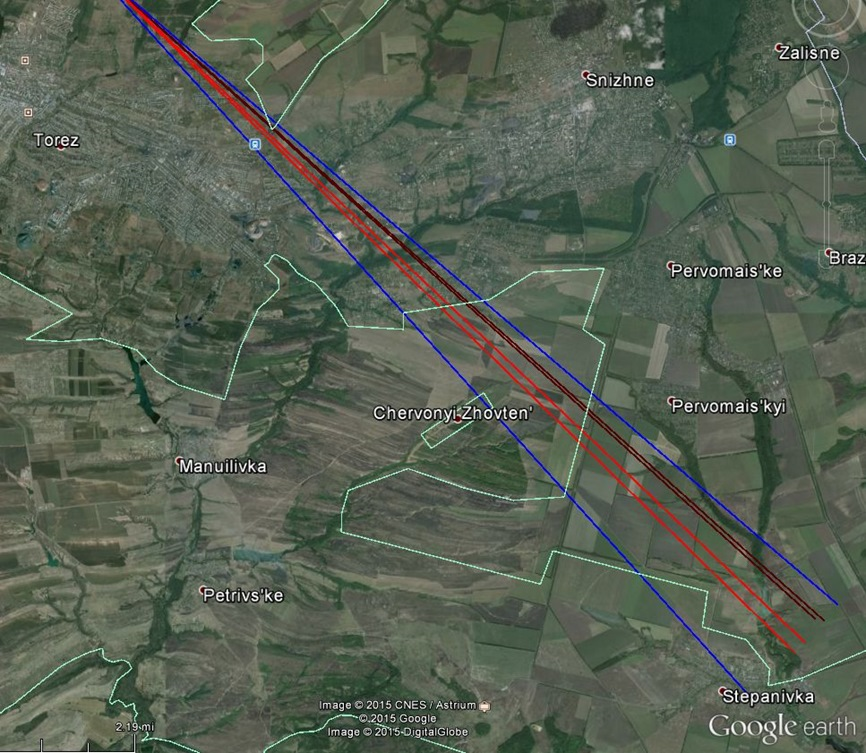 View lines of the first picture of 17 July 2014 with the view frame (blue lines), the view lines of the white smoke trail (red lines) and the view lines of the smaller grey smoke trail (brown lines).