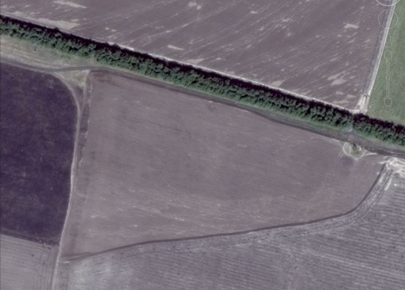 Part of a wheat field where scorched earth and burned wheat was seen by Roland Oliphant of the Telegraph from 15 August 2014 satellite image.