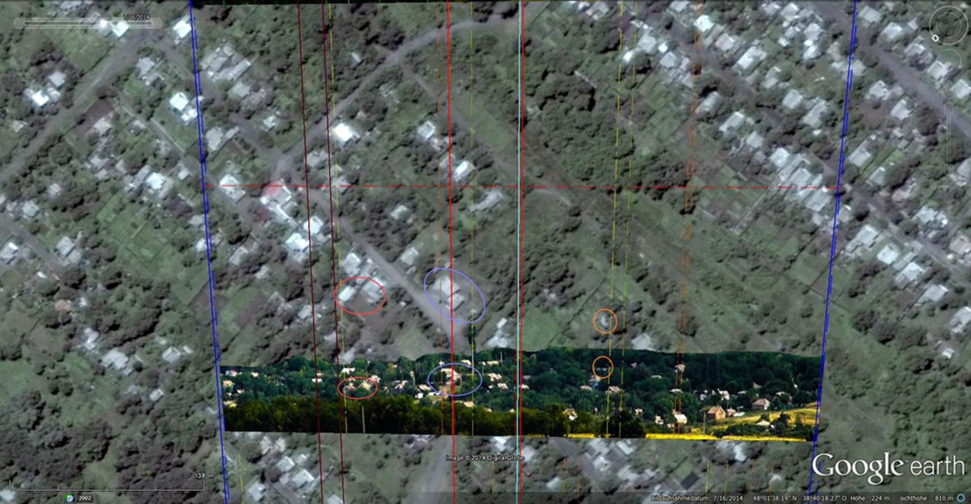 Second image with matches between the 17 July 2014 picture and the Google Earth satellite image.