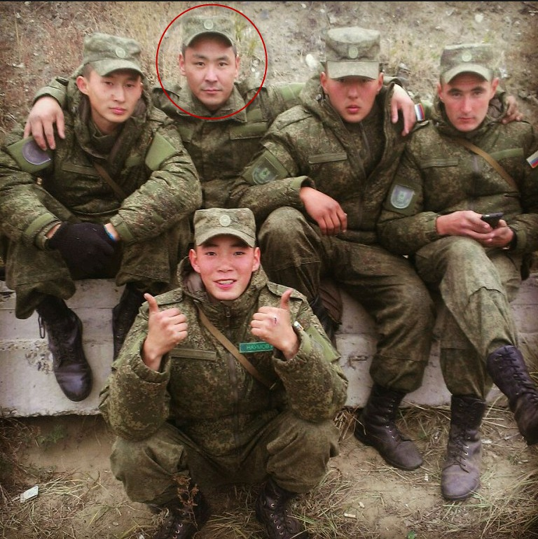 Spartak with his fellow soldiers. Taken from his Odnoklassniki page.