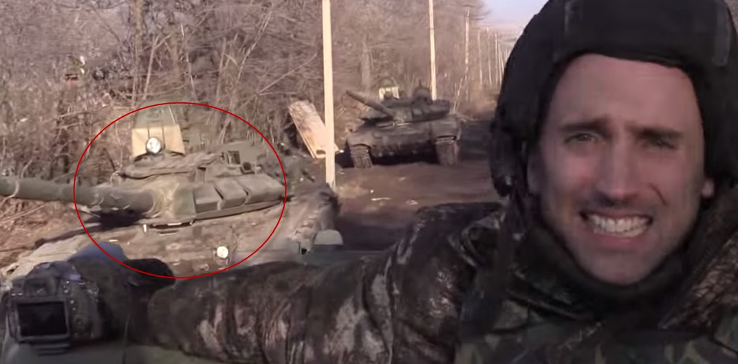 Graham Philipps with one of the best views of a Russian T-72b tank, seen near Debaltseve
