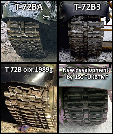 Comparison of T-72B variant tracks