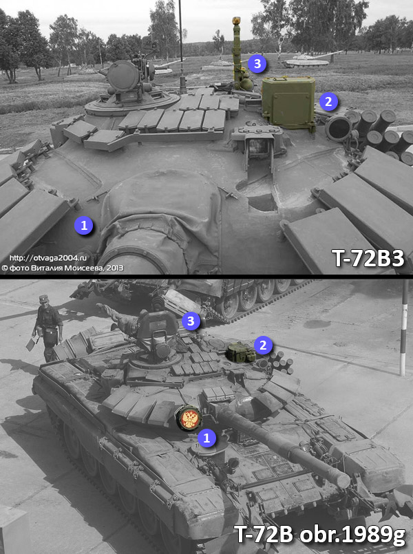 Main differences on turret between T-72B3 and T-72B obr.1989g.