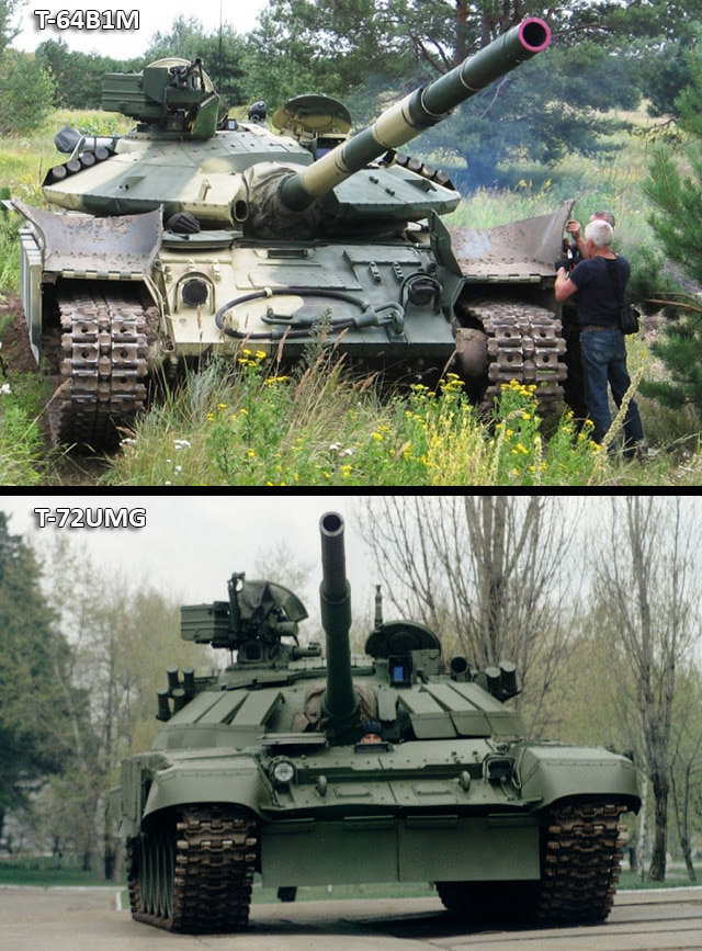 Two Ukrainian tank variants with angled ERA elements on the turret.