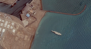 Iran Carrier Mockup Anchored off Bandar Abbas