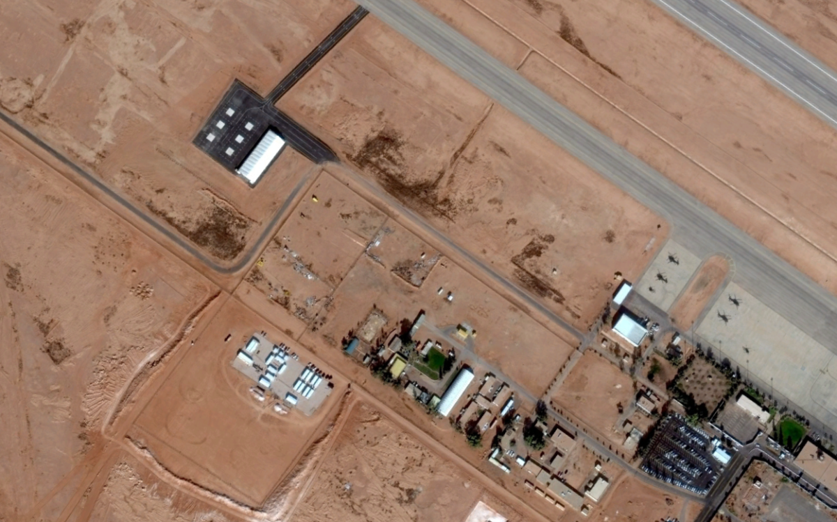 Imagery acquired by DigitalGlobe of the civil-military Arar Airport from 01JAN15.
