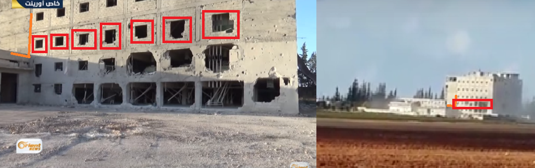 A comparison of stills of the building from video 3 (left) and video 1 (right) shows it is the same building.