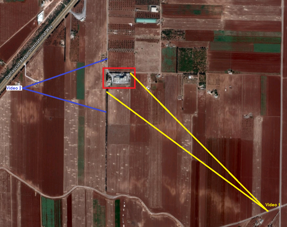 Map showing the filming locations of the bombing of a bakery near Saraqib, Syria.