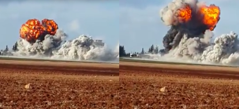 Two still from the video of the Step News Agency, showing the explosion after the second strike.