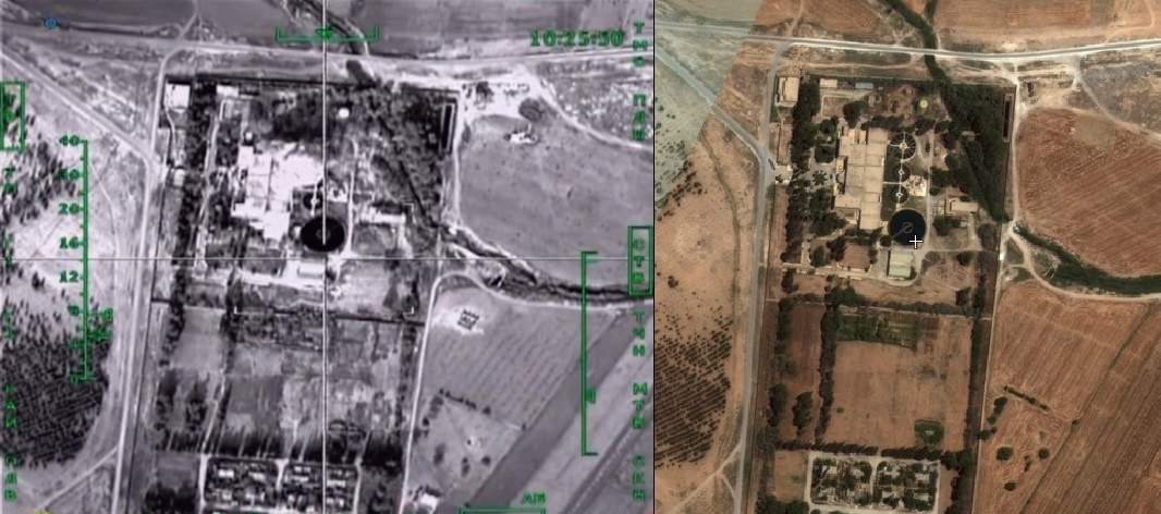 The left image is a still from the footage released by the Russian Ministry of Defence, the image on the right is Microsoft satellite imagery showing the same location.