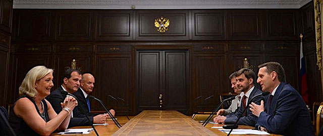 National Front leader Marine Le Pen meets with Russian State Duma chairman Sergei Naryshkin in Moscow, January 2014