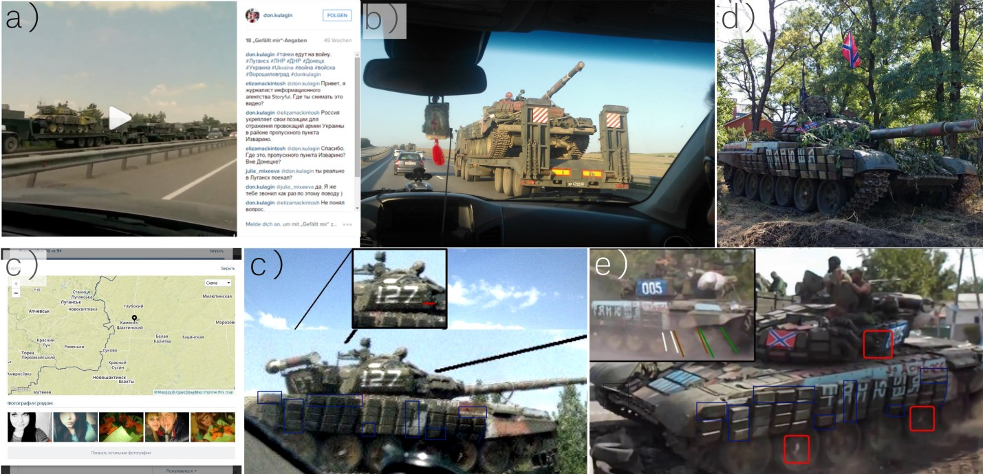 Figure 2. Sightings of tank number 127 / 005 in Russia and Ukraine during the summer of 2014. a), c) in a truck convoy 30 July 2014 close to Kamensk-Shakhtinsky . b) Another convoy carrying tank 127, photo uploaded on 21 August 2014 and taken in the area of Rostov-on-Don . d) A photo of tank 127 in Novoazovs'k taken by journalist Petr Shelomovskiy on 31 August 2014 . e) A photo of tank 127 in video CONVOY-2 uploaded 10 September 2014, filmed at 47.126085, 38.084023 .
