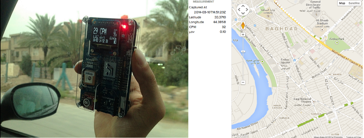 Safecast Open Data collection by monitoring radiation in Baghdad, Iraq, 2014