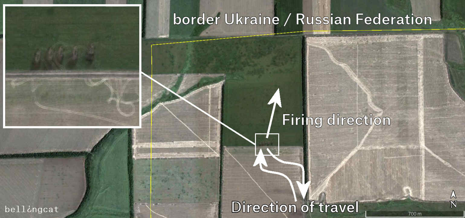 The visible tracks that lead to the site come from further inside Russian territory.
