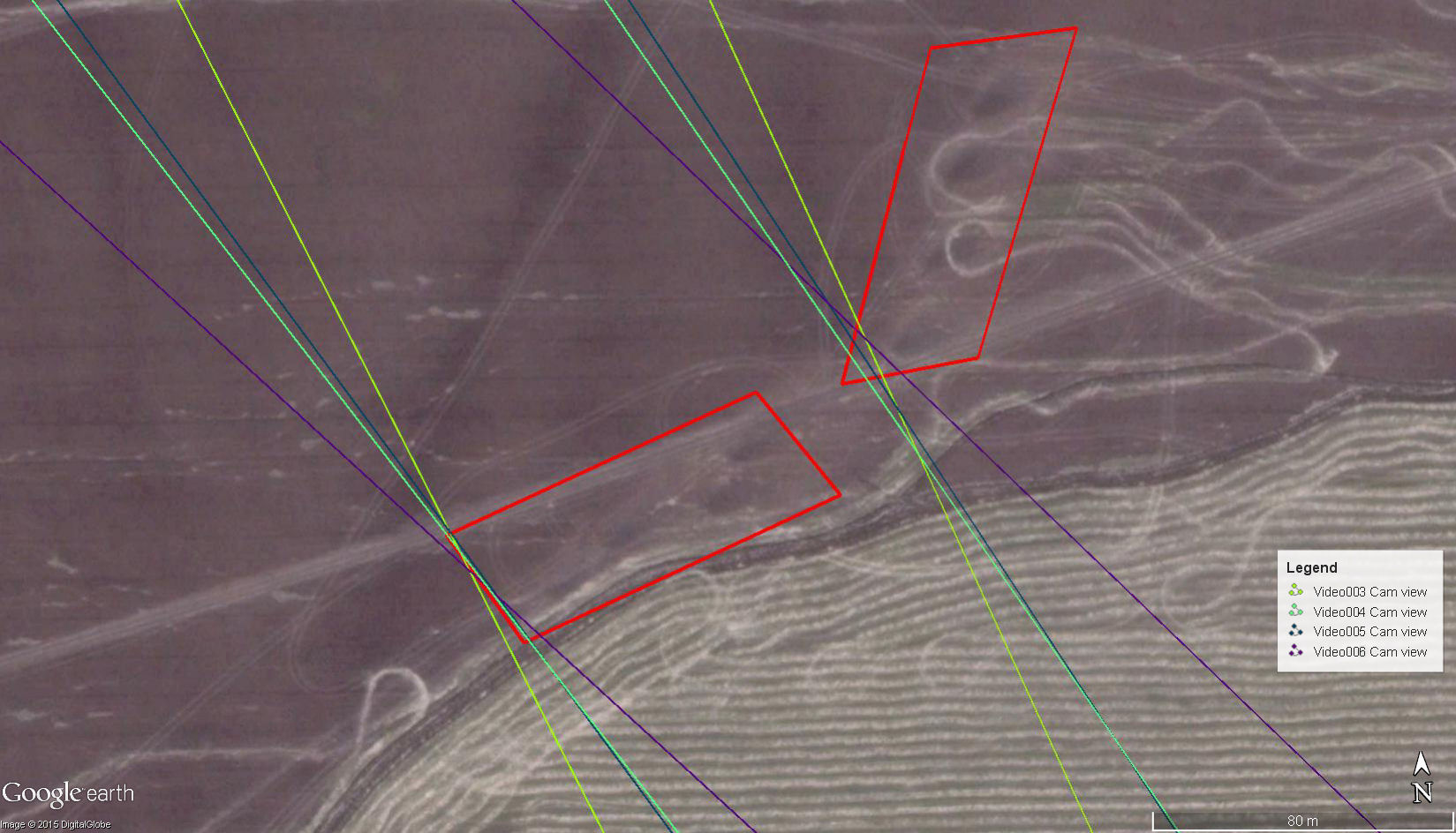 The intersection of viewing directions and the location of Grad firing positions