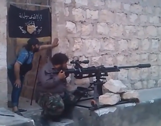 A 23mm Jaish al-Islam anti-materiel rifle built using what appears to be the barrel of a ZU-32 Anti-Aircraft Gun (Oryx Blog, 2014)
