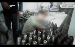 11. A neck piece is screwed on to allow a fuze to be attached to the mortar
