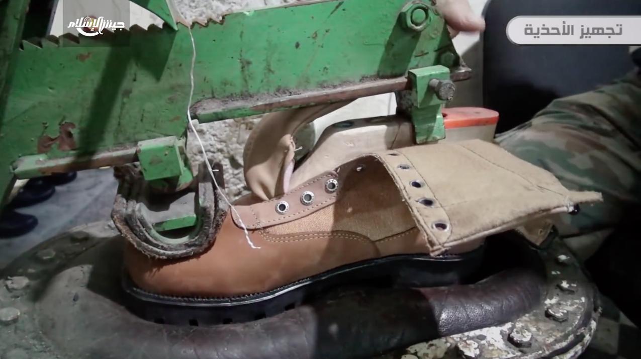 Boots being made at a Jaish al-Islam run factory