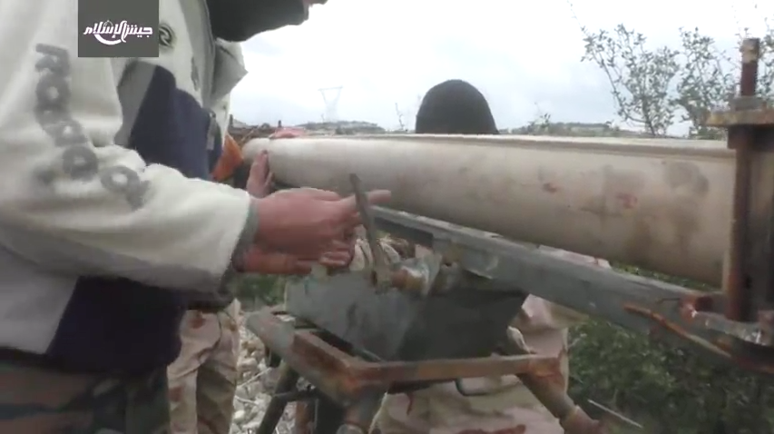 Jaish al-Islam setting up their Grad-P Analog somewhere in the mountains of Latakia