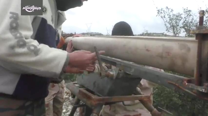 Jaish al-Islam setting up their Grad-P Analog somewhere in the mountains of Latakia