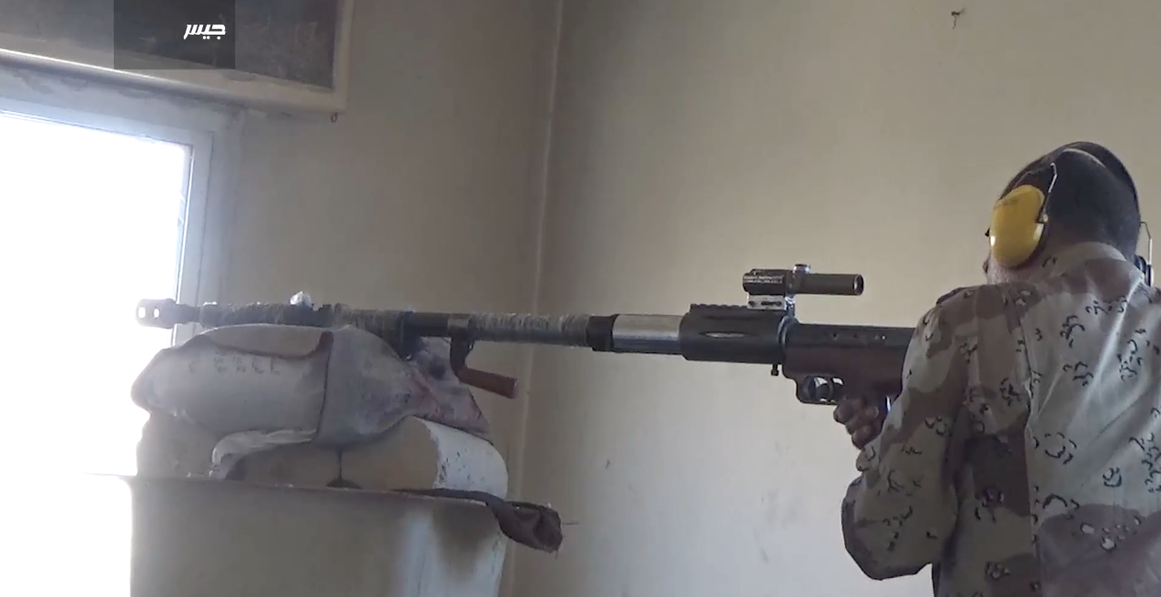 A 12.7mm Jaish al-Islam sniper rifle built with what appears to be a re-purposed Chinese W-85 heavy machine gun barrel