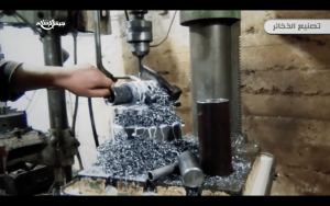 8. Holes are drilled in the tail section of the mortar