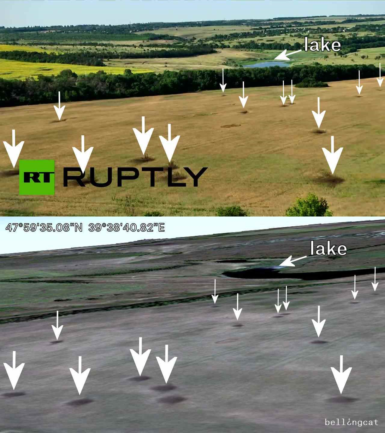 Comparison shot from a Ruptly video and the 15 August 2014 satellite imagery from Google Earth of a Russian artillery strike against Ukraine