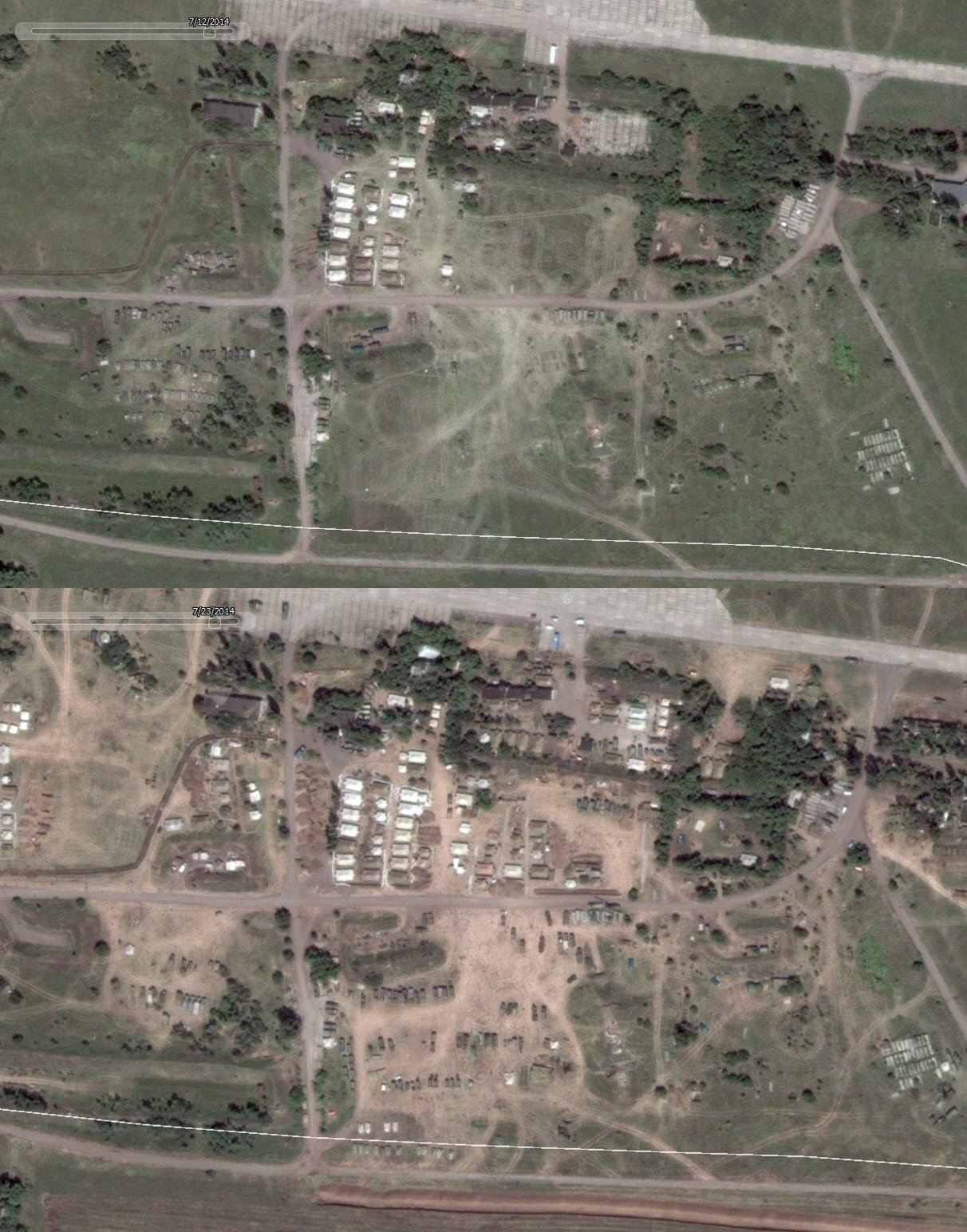 Top: July 12, Kramatorsk airfield Bottom: July 23, Kramatorsk airfield