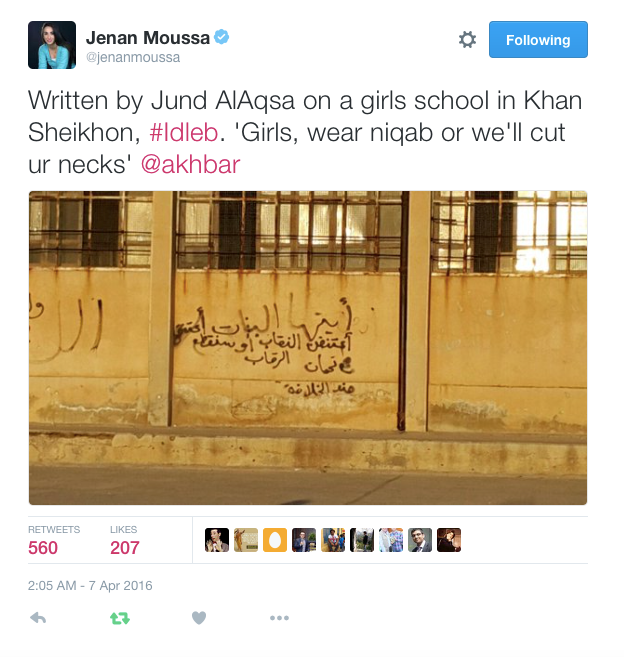 "Writing on the wall in Khan Sheikhoun implores women to wear niqab on threat of death. The attribution that draws on language of the Islamic State – ""soldiers of the caliphate"" – leaves some ambiguity, suggesting perhaps a local-level action."