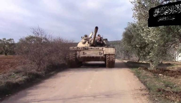 Jund al-Aqsa fields a limited number of armor pieces. Seen here is a T-55A captured from Syrian government forces.